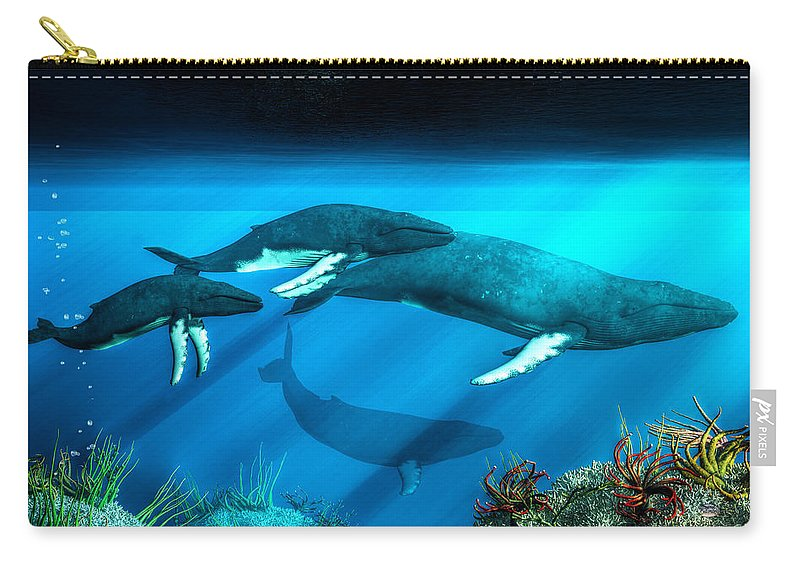 Humpback Carry-all Pouch featuring the digital art Humpback Whales by Daniel Eskridge