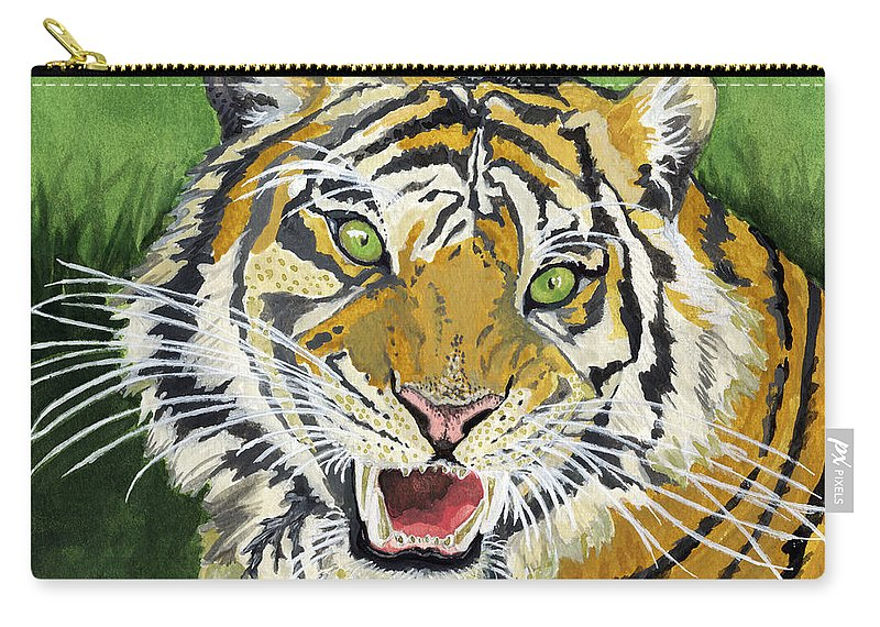Tiger Carry-all Pouch featuring the painting Hungry Tiger by Alban Dizdari