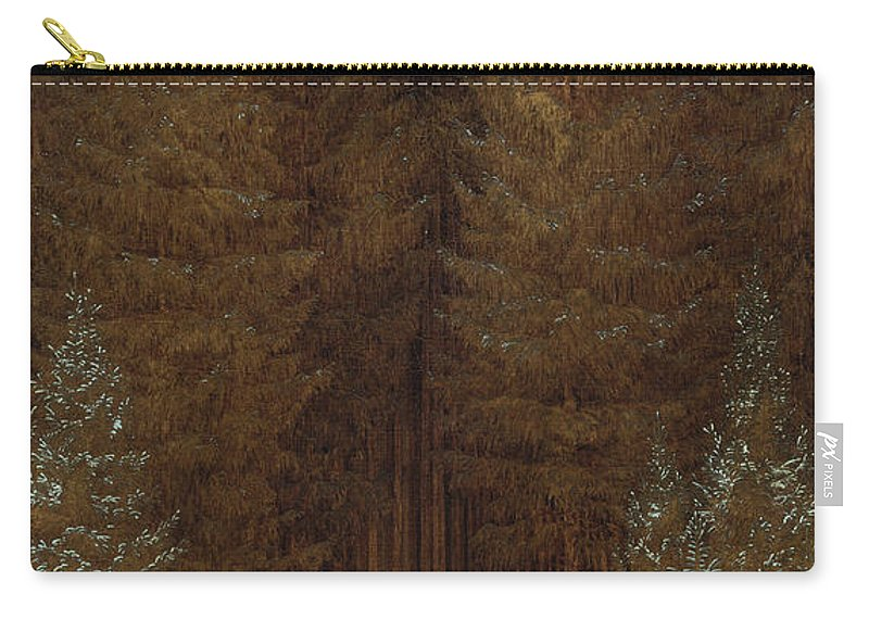 Caspar David Friedrich Carry-all Pouch featuring the painting Hunter In The Forest by Caspar David Friedrich