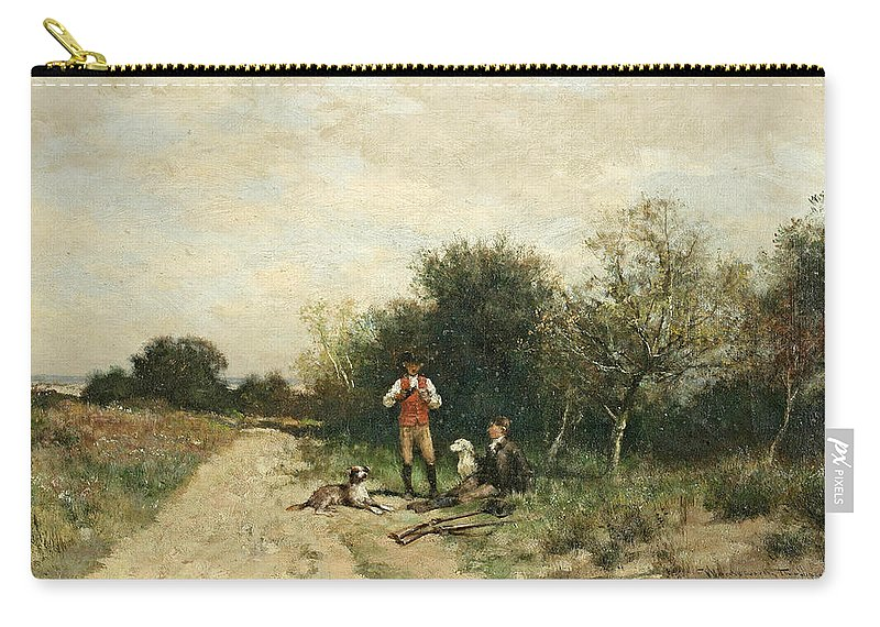 Alfred Wordsworth Thompson Carry-all Pouch featuring the painting Hunters Taking A Break by Alfred Wordsworth Thompson