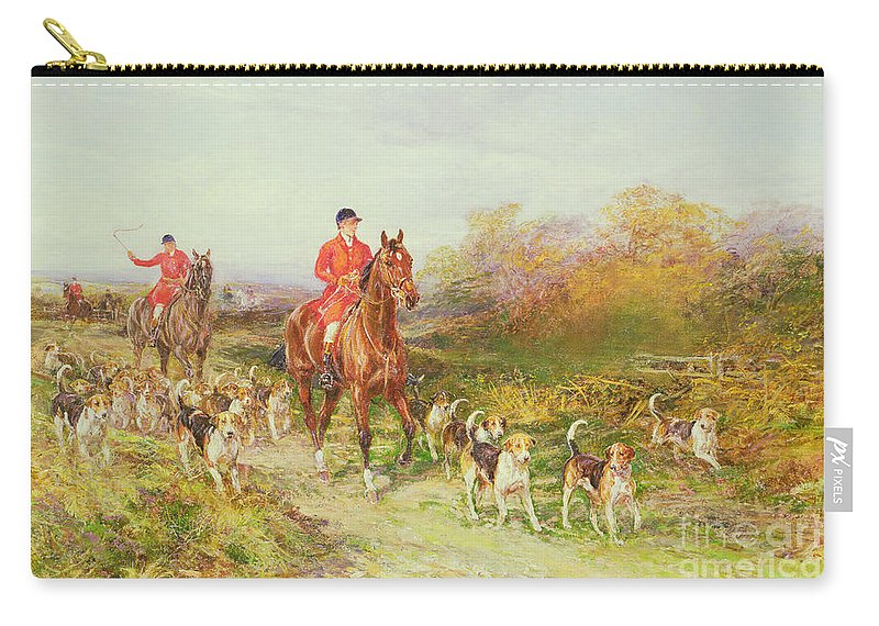 Hounds;huntsman Bracken Autumn Carry-all Pouch featuring the painting Hunting Scene by Heywood Hardy