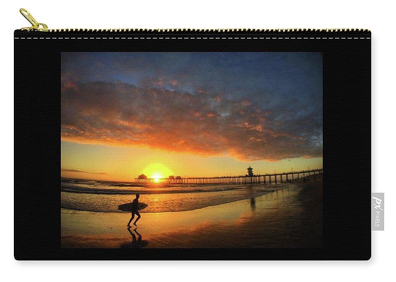 Huntington Beach Carry-all Pouch featuring the photograph Huntington Beach Pier Sunset by Braden Moran