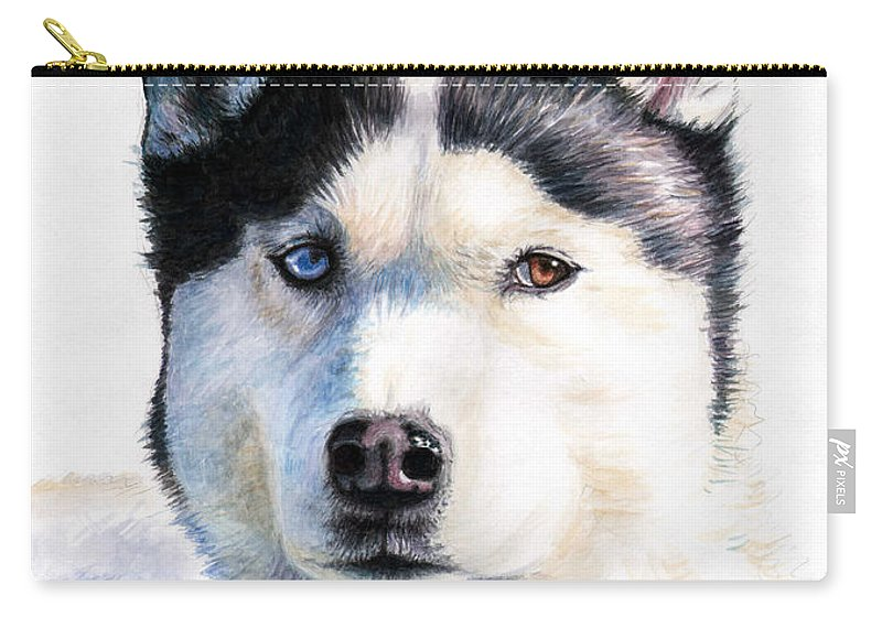 Dog Carry-all Pouch featuring the painting Husky Blue by Nicole Zeug