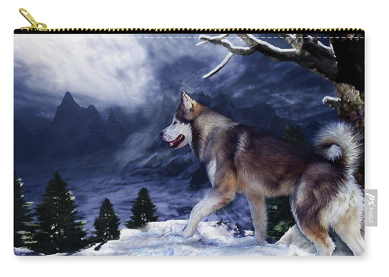 Husky Carry-all Pouch featuring the painting Husky - Mountain Spirit by Carol Cavalaris