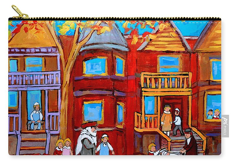 Hutchison Street Sabbath In Montreal Carry-all Pouch featuring the painting Hutchison Street Sabbath In Montreal by Carole Spandau