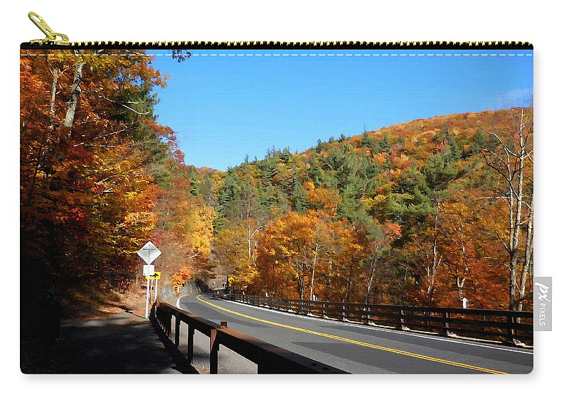 Kaaterskill Falls Ny 23a Carry-all Pouch featuring the painting Hwy 23a 4 by Jeelan Clark