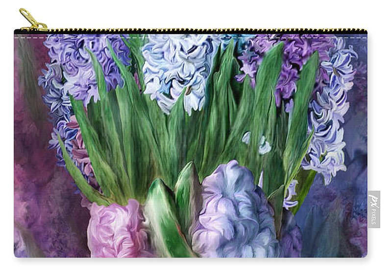 Carol Cavalaris Carry-all Pouch featuring the mixed media Hyacinth In Hyacinth Vase 1 by Carol Cavalaris