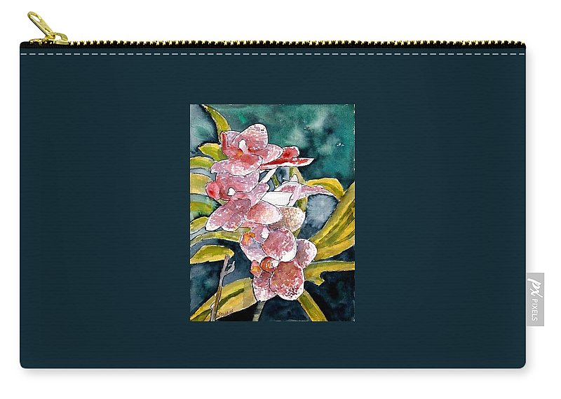 Orchid Carry-all Pouch featuring the painting Hybrid Orchids Orchid Flowers by Derek Mccrea