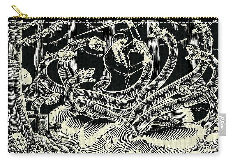 Hydra Carry-all Pouch featuring the drawing Hydra by Lance Miyamoto