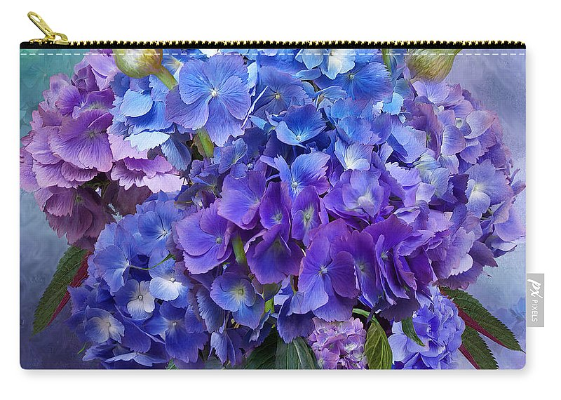 Hydrangea Carry-all Pouch featuring the mixed media Hydrangea Bouquet - Square by Carol Cavalaris
