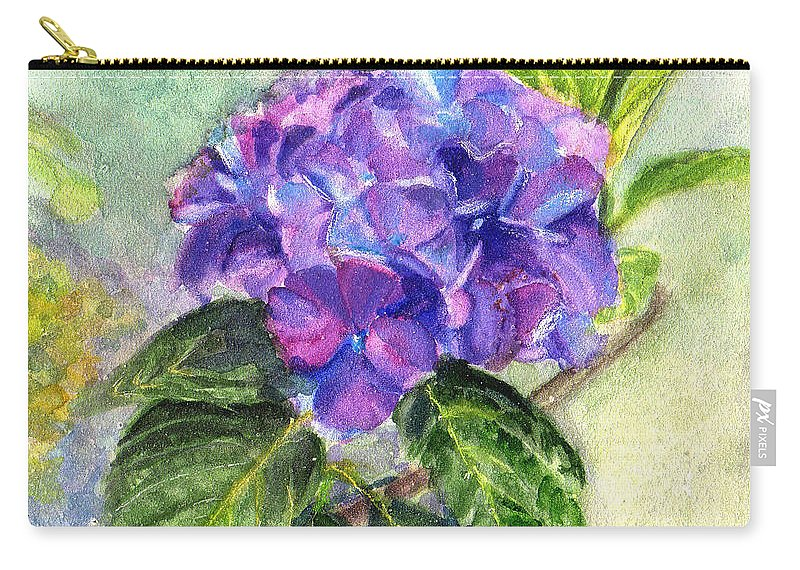Hydrangea Carry-all Pouch featuring the painting Hydrangea On Clayboard by Katherine Berlin