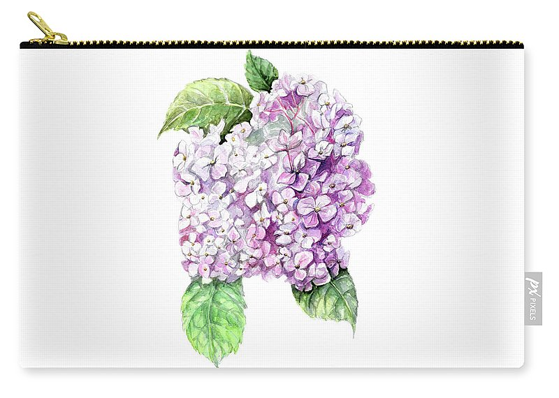 Hydrangea Carry-all Pouch featuring the painting Hydrangea by Yana Sadykova