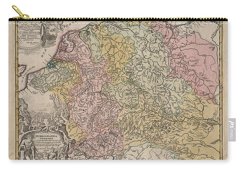 Hydrographia Germania Carry-all Pouch featuring the drawing Hydrographia Germania - The Rivers Of Germany - Antique Geographical Map - Historic Map by Studio Grafiikka