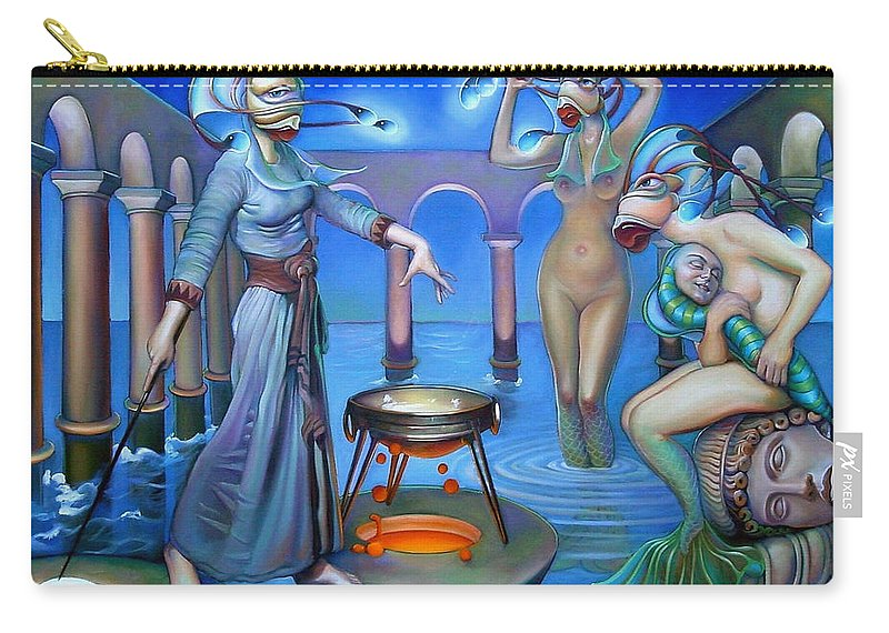 Mermaid Carry-all Pouch featuring the painting Hydromeda's Kitchen by Patrick Anthony Pierson