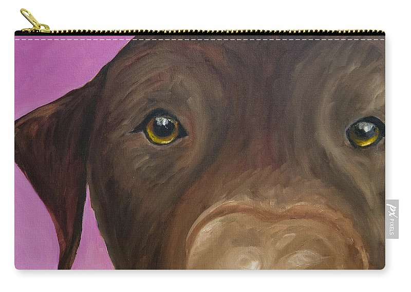 Chocolate Lab Carry-all Pouch featuring the painting I Am Being Really Good by Roger Wedegis