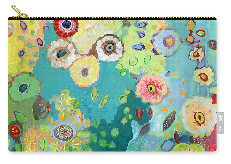 Floral Carry-all Pouch featuring the painting I Am by Jennifer Lommers