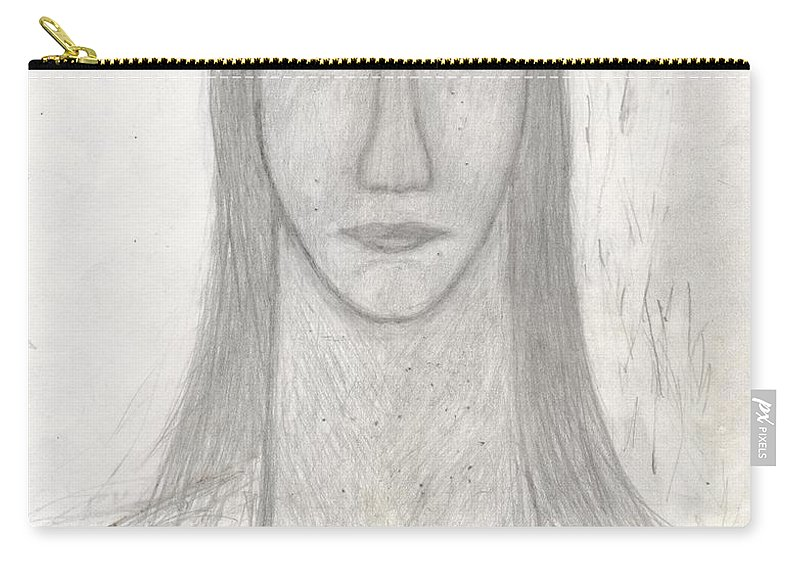 Drawing Carry-all Pouch featuring the drawing I Am Not Perfect But I Can Still Love by Sergey Sogomonyan