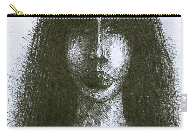 Psychedelic Carry-all Pouch featuring the drawing I Am Such Lonely by Wojtek Kowalski