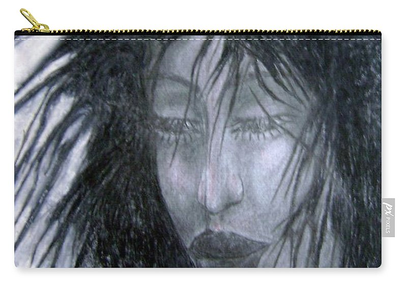 Psychedelic Carry-all Pouch featuring the drawing I Am Thoughtful Today by Wojtek Kowalski