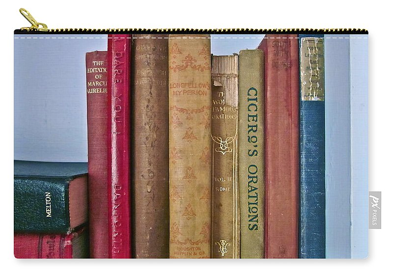 Photograph Of Books Carry-all Pouch featuring the photograph I Dare You Et Al. by Gwyn Newcombe