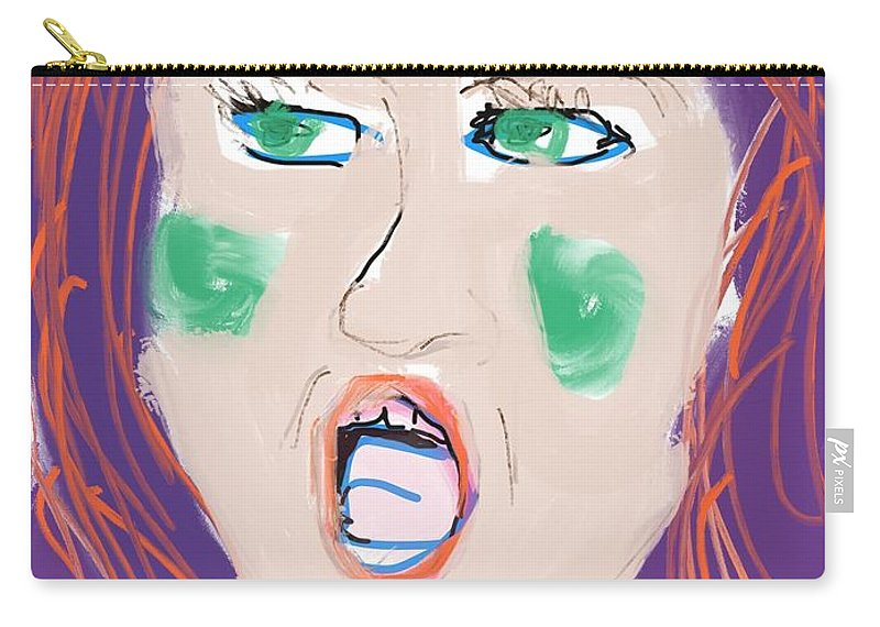 Digital Carry-all Pouch featuring the digital art I Don't Care What You Say by Mary Jane Mulholland