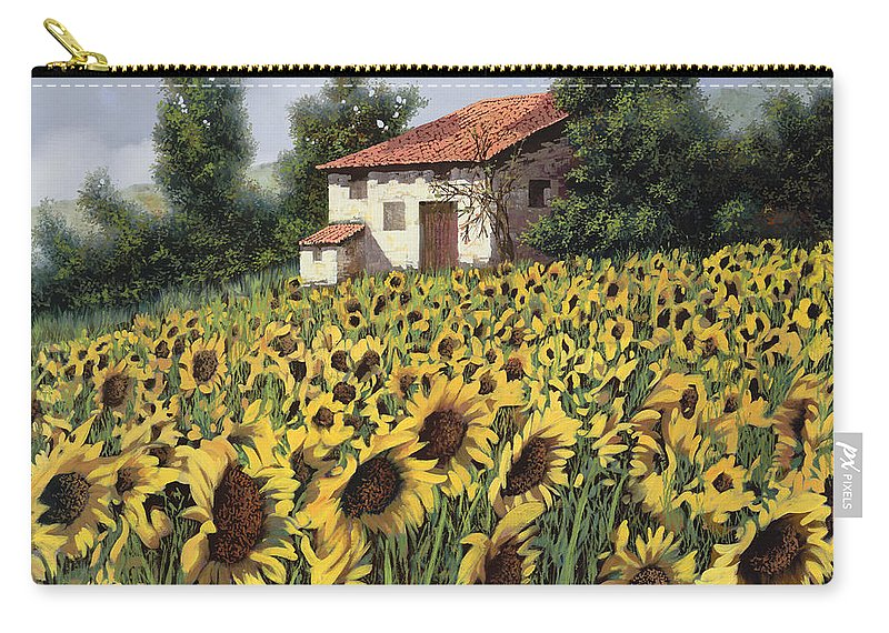 Tuscany Carry-all Pouch featuring the painting I Girasoli Nel Campo by Guido Borelli