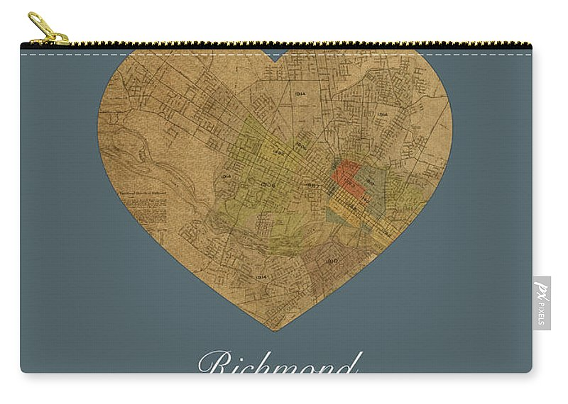 I Heart Carry-all Pouch featuring the mixed media I Heart Richmond Virginia Street Map Love Americana Series No 057 by Design Turnpike