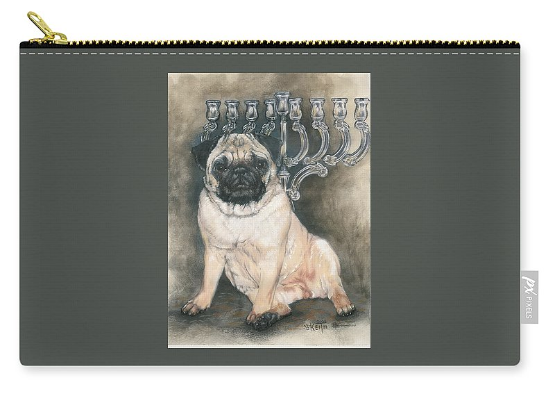 Pug Carry-all Pouch featuring the mixed media Gonna Wait Here by Barbara Keith