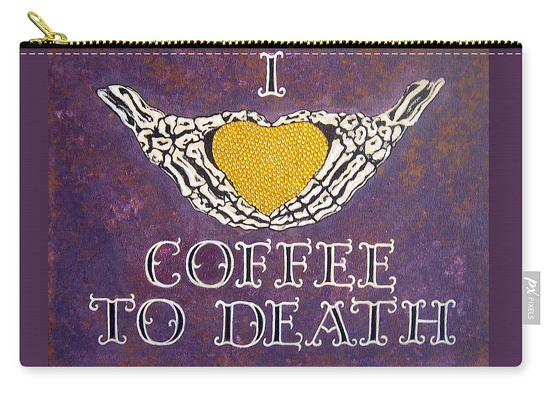 Sign Carry-all Pouch featuring the painting I Love Coffee by Glenda Stevens