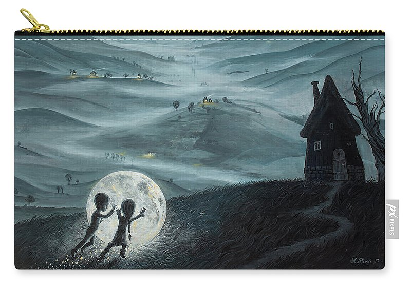 Kids Carry-all Pouch featuring the painting I Love Dreaming Into That Dying Light by Adrian Borda