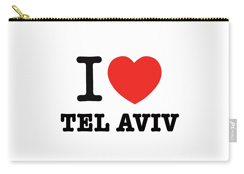 Israel Carry-all Pouch featuring the photograph i love Tel Aviv by Ron Shoshani