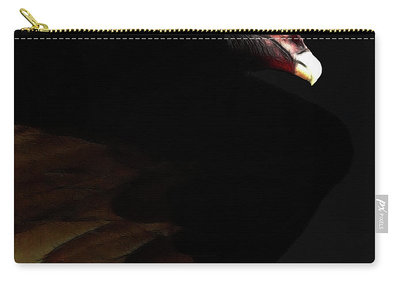 Bird Carry-all Pouch featuring the photograph I Saw The Vulture In My Dreams Again . With Text by Wingsdomain Art and Photography
