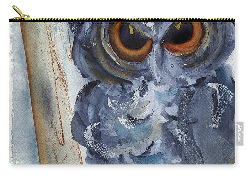Owl Carry-all Pouch featuring the painting I See You by Dawn Derman