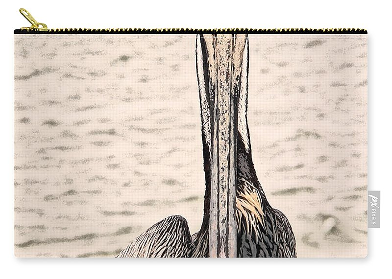 Brown Pelican Carry-all Pouch featuring the photograph I See You Too by Steven Sparks