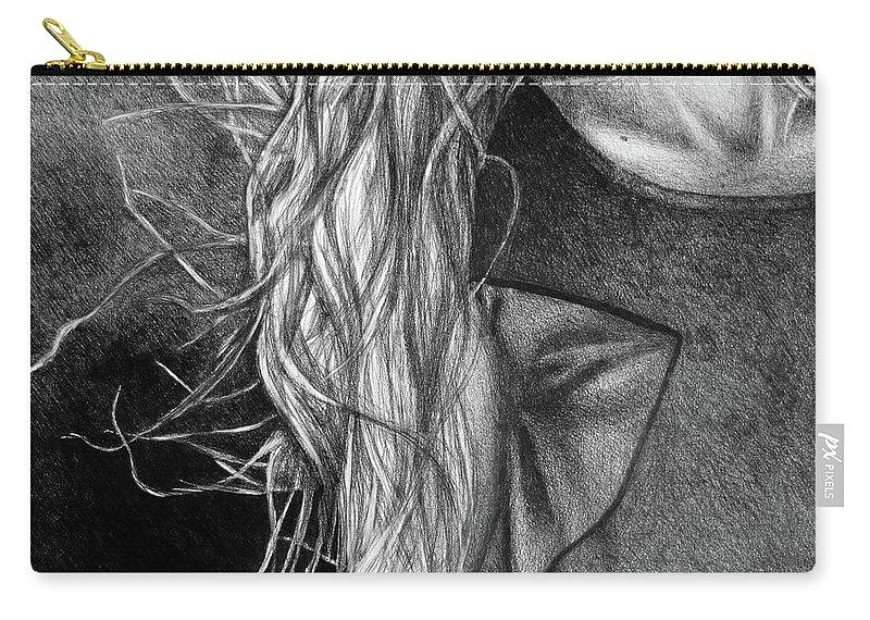 Drawing Carry-all Pouch featuring the digital art I Will Remain Still Dreaming, 2017, 50-70cm, Graphite Crayon On Paper by Oana Unciuleanu