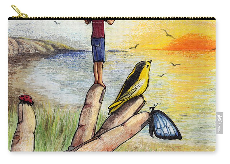 Butterfly Carry-all Pouch featuring the drawing I Wish I Could Fly by Elaine Berger