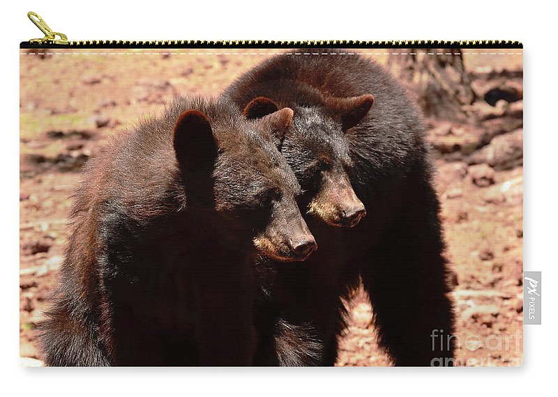 Bears Carry-all Pouch featuring the photograph I Wont Tell Mom If You Dont by Debby Pueschel
