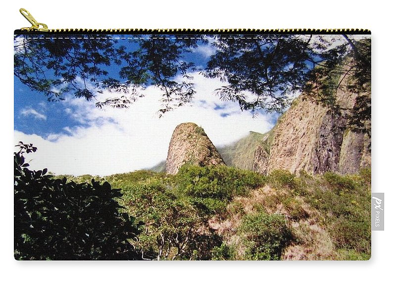 1986 Carry-all Pouch featuring the photograph Iao Valley by Will Borden