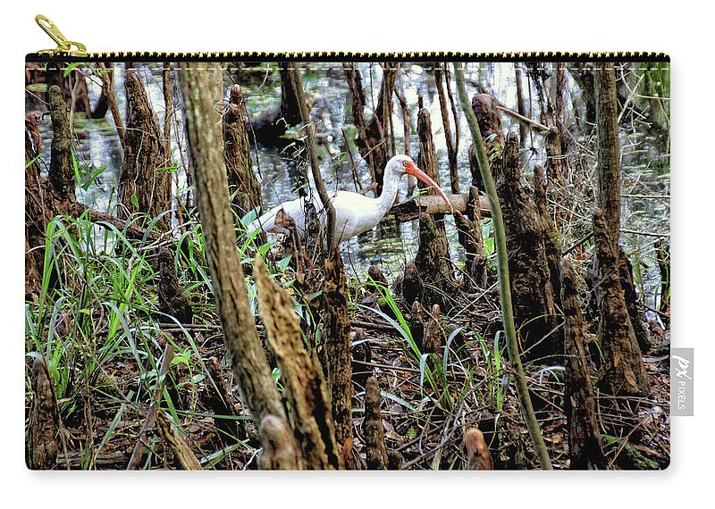 Wildlife Carry-all Pouch featuring the photograph Ibis In The Swamp by John Trommer