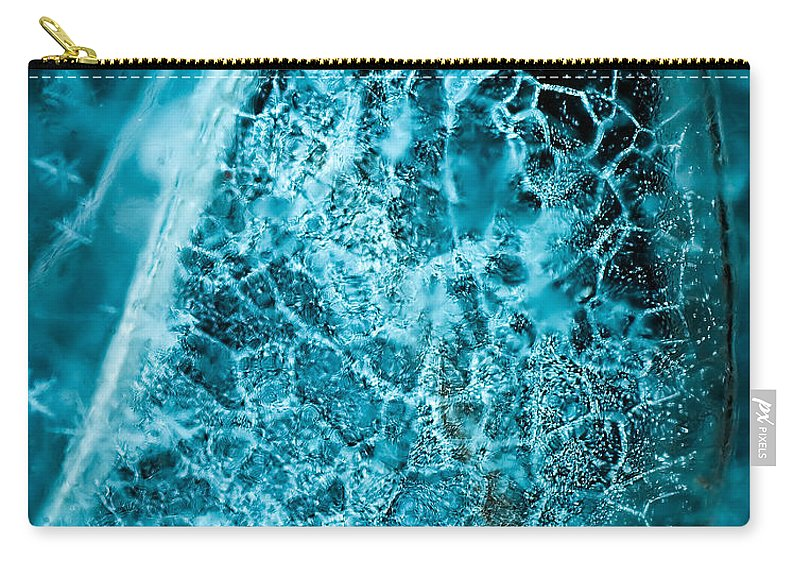 Abstract Carry-all Pouch featuring the photograph Ice Abstract Deep Blue by Onyonet Photo Studios