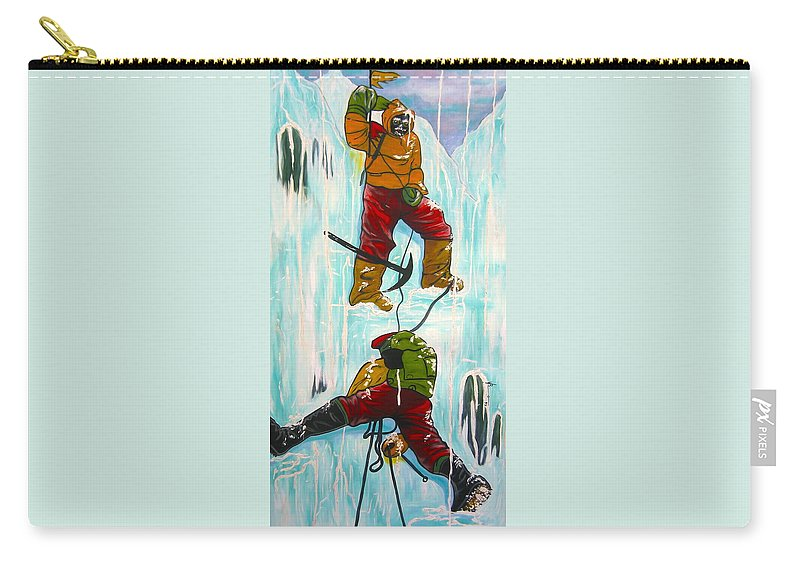 Abstract Sports Carry-all Pouch featuring the painting Ice Climbers by V Boge