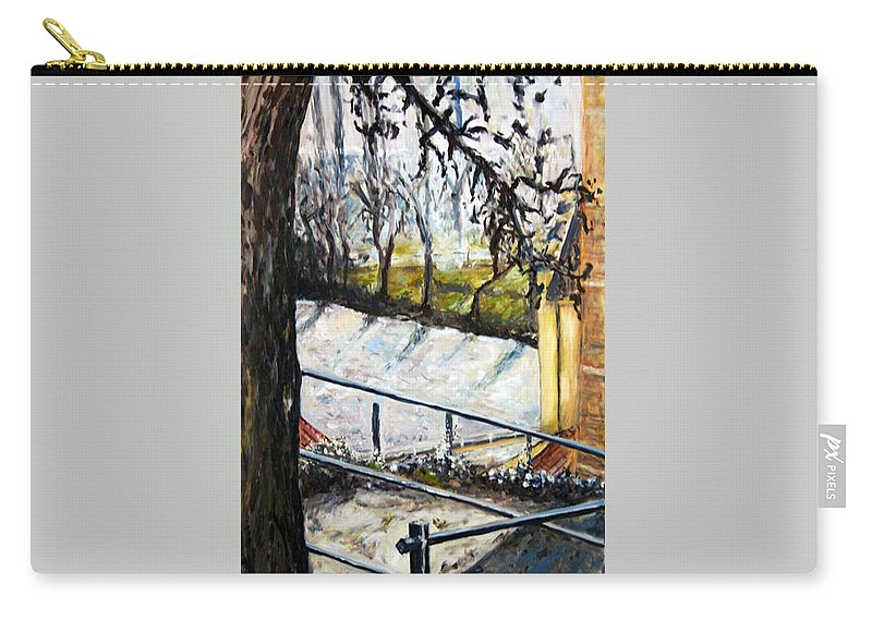 Landscape Carry-all Pouch featuring the painting Ice-covered Pond by Pablo de Choros
