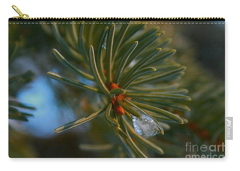 Spruce Carry-all Pouch featuring the photograph Ice Drop by Rick Monyahan