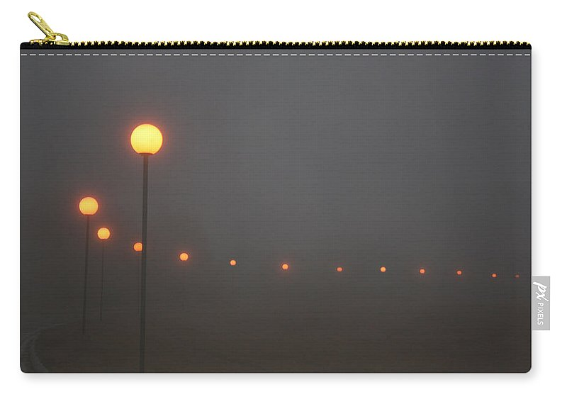 Ice Fog Park Lamps Misty Cold Weather Eerie Carry-all Pouch featuring the photograph Ice Fog And Park Lamps by Andrea Lawrence