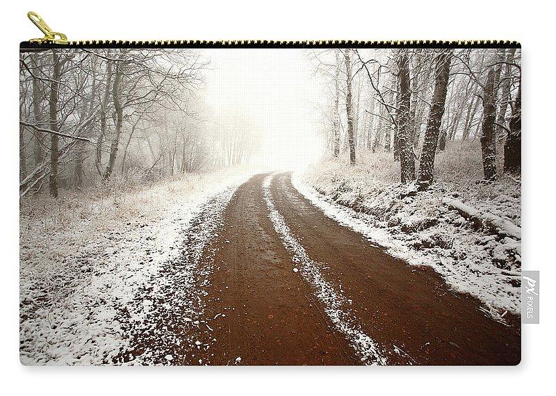 Ice Fog Carry-all Pouch featuring the digital art Ice Fog In Cypress Hills Provincial Park Of Saskatchewan by Mark Duffy