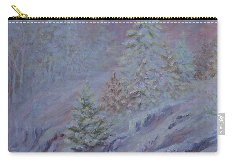 Ice Fog In Northern Landscape Carry-all Pouch featuring the painting Ice Fog In The Forest by Joanne Smoley