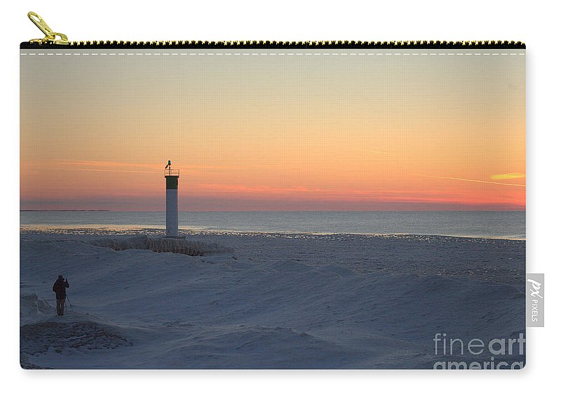 Grand Bend Carry-all Pouch featuring the photograph Ice Mound Glow 4 by John Scatcherd