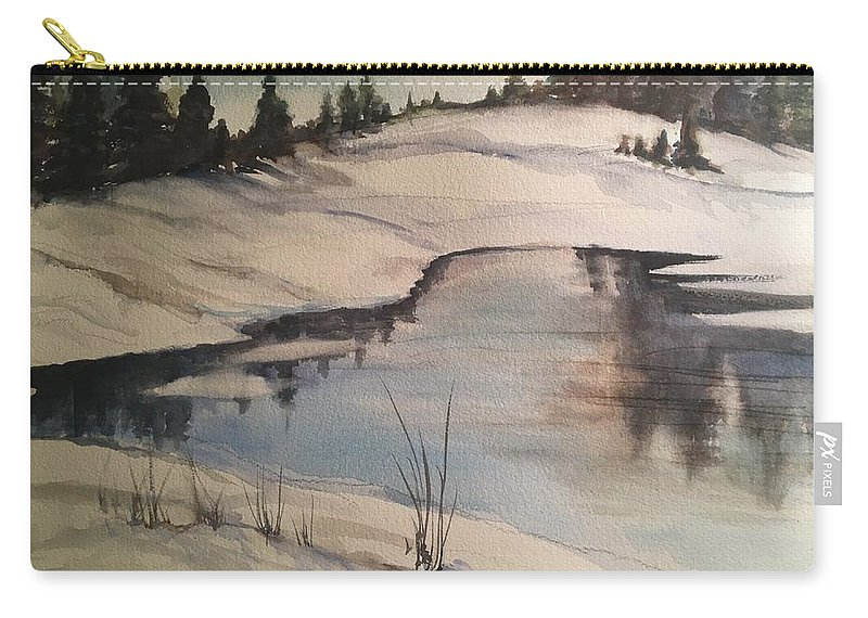 Landscape Carry-all Pouch featuring the painting Ice Pond by Iva Fendrick