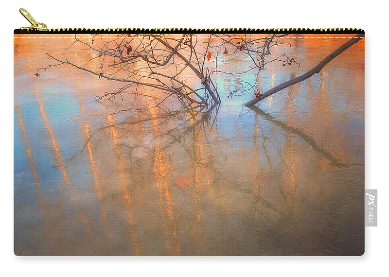 Ice Carry-all Pouch featuring the photograph Ice Reflections 2 by Tara Turner