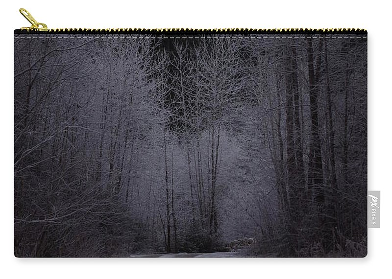 Ice Carry-all Pouch featuring the photograph Ice Road by Cindy Johnston